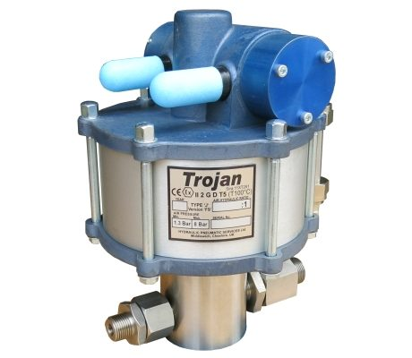 Trojan Type 'M' pump<br>Test pressures up to 2,660 Bar.
